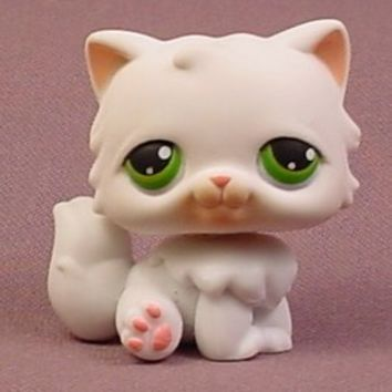 Littlest Pet Shop #15 White Persian Kitty Cat Kitten With Green Eyes, Pet Pairs, Singles, 2004 - RONS RESCUED TREASURES