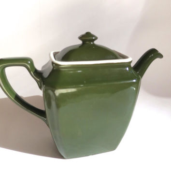 Hall China Tea Pot Art Deco 6 Cup Teapot w/ Strainer Spout Newport Style Rectangular Dark Green Marked Hall 1930's Heavy Holds  32 oz Chippy