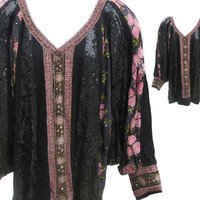 """Vintage """"Judith Ann Plus"""" Pull-Over Jacket in Black Suede with Sequins and Silk Inserts - Fits Size XXLarge"""