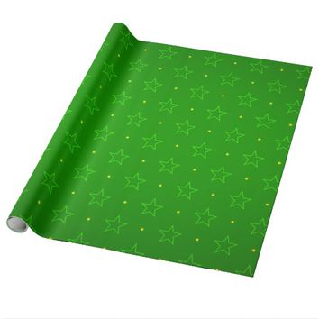 Forest Green Stars Pattern Wrapping Paper