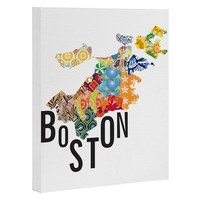 Jennifer Hill Boston Map Art Canvas