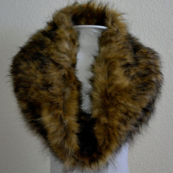Faux Fur Scarf, Brown Wolf Faux Fur Cowl, Neck Warmer, Neck Piece, Circle Scarf, Ready to Ship!