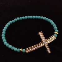 Turquoise stone and Gold Cross Bracelet