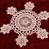 White Rose Doily - 3D Irish Crochet Roses with Pearls on a Graphic Center - Handmade Decor - Wedding, Romantic, Floral