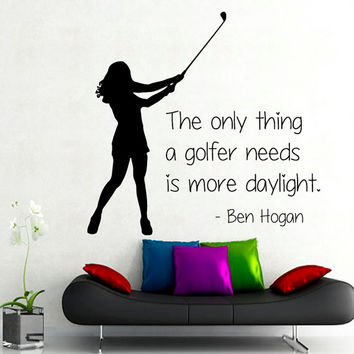 Golfer Wall Decals Quote Sport Girl Golf Player Words Home Interior Design Vinyl Decal Art Mural Sticker Kids Nursery Baby Room Decor kk803
