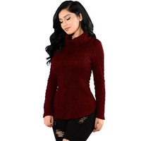 Casual Sexy Long Sleeve Women Slim Turtleneck Knitted Sweaters Jumper Female Autumn Winter Turtleneck Pullovers Tops Poncho