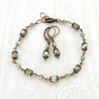 Light Sage Green and Copper Vintage Style Jewelry Set - Boho Jewelry - Czech Glass Bead Jewelry Rustic Sage Jewelry - Dark Copper Jewelry