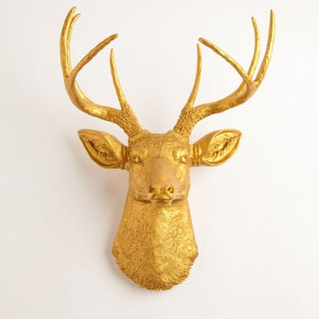 White Faux Taxidermy - Faux Deer Mount - The Franklin - Gold Resin Deer Head- Stag Resin Gold Faux Taxidermy- Chic & Trendy