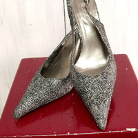 Retro Silver metallic glitter high heel shoes pointed ceremony wedding 8,5