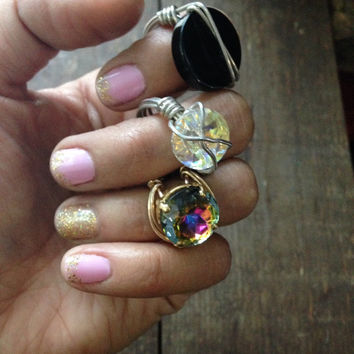 Gold Plated Wire Wrapped Ring w/ Swarovski Crystal or Onxy Round Stone