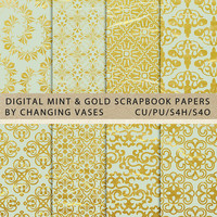 Digital Scrapbook Paper Pack Mint and Gold, Geometric Floral Damask Pattern, Texture, Clipart Clip Art, Photo Background (2)
