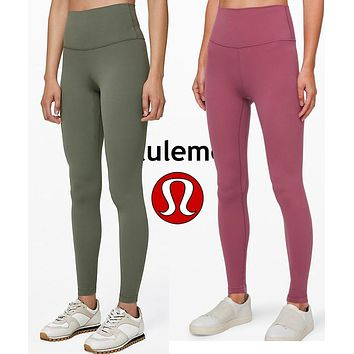 LuluLemon Women Fashion Sport Trouser Yoga Pants Girls Legging high elasticity Pink Army green