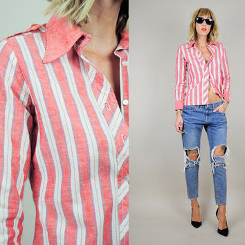 70's Chambray RED Denim Striped Tailored SHIRT Preppy Epaulet cotton Nautical sailor tiny fit xs