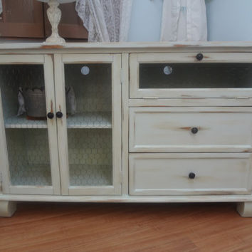 shabby chic entertainment center from thepinktoolbox on etsy. Black Bedroom Furniture Sets. Home Design Ideas