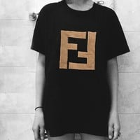 FENDI FF New Fashion Letter Cotton Women Men T-Shirt Black