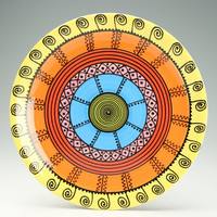 Bright Mandala Platter Hand Painted Bohemian Art Serving Colorful Dinnerware