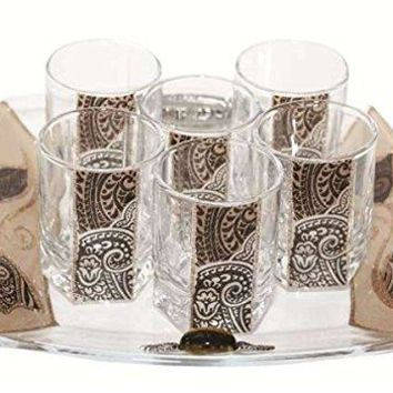Cheers Collection Liquor Set with 6 Glasses And Tray Tulip - Brown - Tray 8 inch  X 8 inch  - Cup 2 inch  H