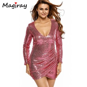 Sexy Bodycon Mini Vestidos Mujer Sequin Dress Women Summer 2017 Long Sleeve Robe Femme Deep V Neck Gold Party Dresses C130