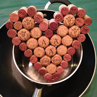 Heart Shaped Wine & Champagne Cork Trivet, Wall Decor, Table Decor, Corkboard