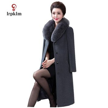 2017 New Women's Winter Long Woolen Jacket Real Fox Fur Collar Large Size 6XL Coat Ladies Slim High Quality Parkas 6Color PQ033