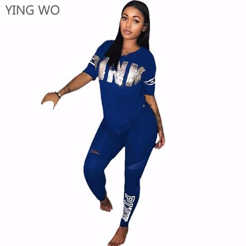 S-XXXL Plus Size Woman Fashion PINK Letter Printed Pant Set Casual O-Neck Short Sleeve Tops Full-length Bodycon Pants Suits