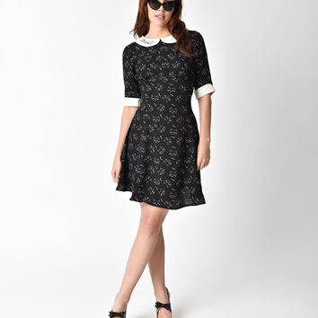 Hell Bunny 1960s Black & White Cats Crepe Mantou Flare Dress