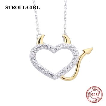 100% sterling silver 925 devil love heart with cubic Zircon pendant chain necklace diy fashion jewelry making for women gifts
