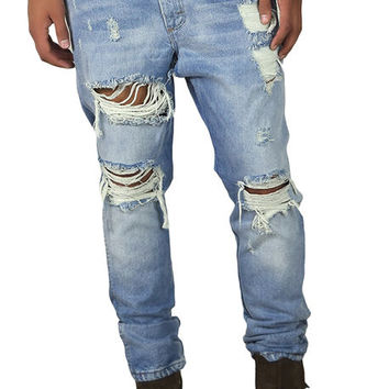 The Vintage Ripped Tapered Jeans in Indigo