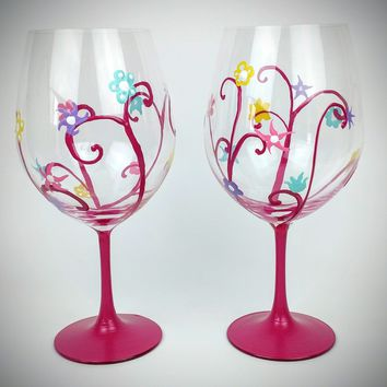 Magenta, spring flower wine glasses, pretty spring wine glasses, Waterford Wine Glass, set of two, Hand Painted glass, High Quality, large