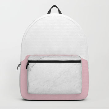 Marble And Dusty Pink Backpacks by ARTbyJWP