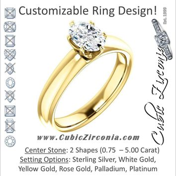 Cubic Zirconia Engagement Ring- The Leah (6 Prong Stackable Solitaire: Round-Cut or Oval-Cut)