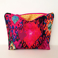 Multicolored zipper bag, a cosmetic case, makeup bag, small zipper pouch clutch