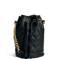Black Quilted Bucket Bag with Chain