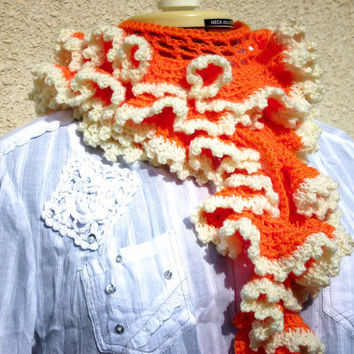 Ruffle scarf Tangerine orange unique very long by Mashacrochet
