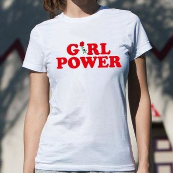 Summer Girl Power?€?letter Print Short Sleeve T Shirt Casual Loose Top White