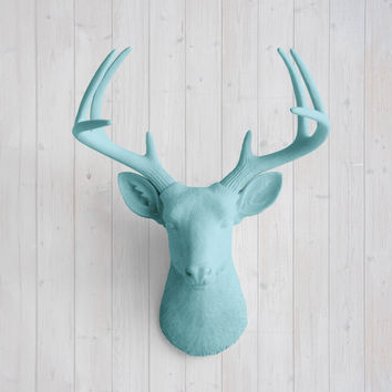 The Virginia Large Pool Blue Faux Taxidermy Resin Deer Head Wall Mount | Pool Blue Stag w/ Colored Antlers