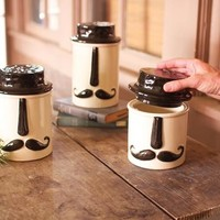 set of 3 ceramic mustache canisters
