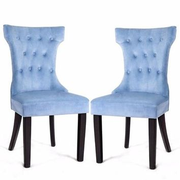 Set of 2 Dining Side Chair Button Tufted