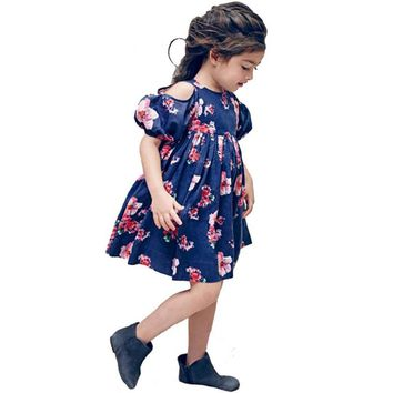 Fashion Girls Dresses with Florals Printed Children Clothes Girl Vestidos Robe Fille