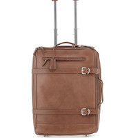 """Brunello Cucinelli 18 1/2"""" Leather Trolly Suitcase with Belts, Brown"""