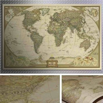 Vintage Retro Paper World Map Antique Poster Wall Chart Home Decoration 72*47cm