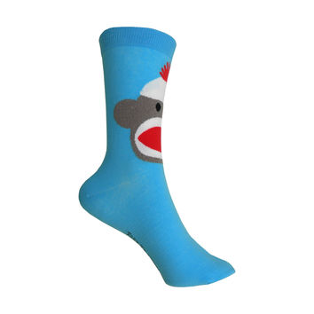 Sock Monkey Crew Socks in Turquoise