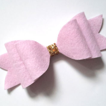 Oversized Felt Pink Glitter Bow Clip - Child and Mummy Bow Clip - Baby, Child, Adult