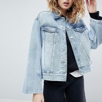 Weekday Girlfriend Denim Jacket with Wide Sleeve Detail at asos.com