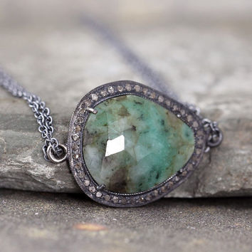 Emerald and Raw Diamond Necklace - Sterling Silver - Halo Pendant - Rustic Jewellery - Green Gemstone Necklace - May Birthstone