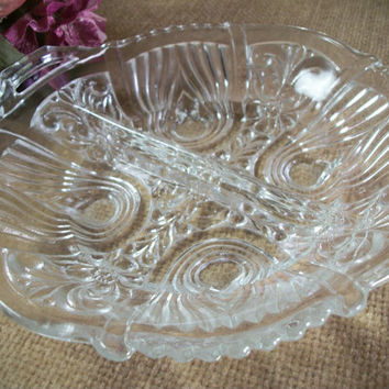Indiana Glass Killarney Design Divided Dish Pressed Glass Serving Bowl Candy Nut Relish Tray Ornate Scalloped Vintage 1930's Art Deco