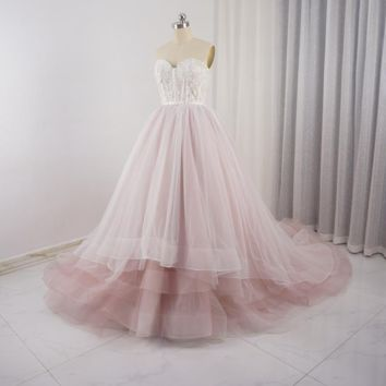 Sweetheart Pale Pink Wedding Dresses Tulle Layers Lace Pearl Beaded Luxury Fairy Romantic Bridal Gown