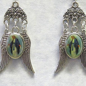 Religious Catholic Earrings Lady of Grace Medal Silver Color Picture Silver Color Picture oval with Silver Angel Wings