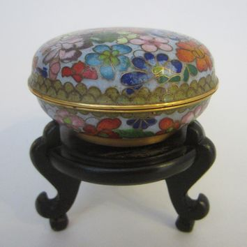 Asian Cloisonne Jewelry Box Red Lotus Enamel Floral Surrounding
