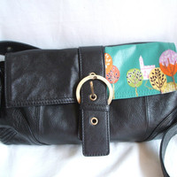 Black leather handbag - leather upcycled purse. Forest bag  - designer fabric / leather crossbody bag.  Eco bag - aqua color block purse